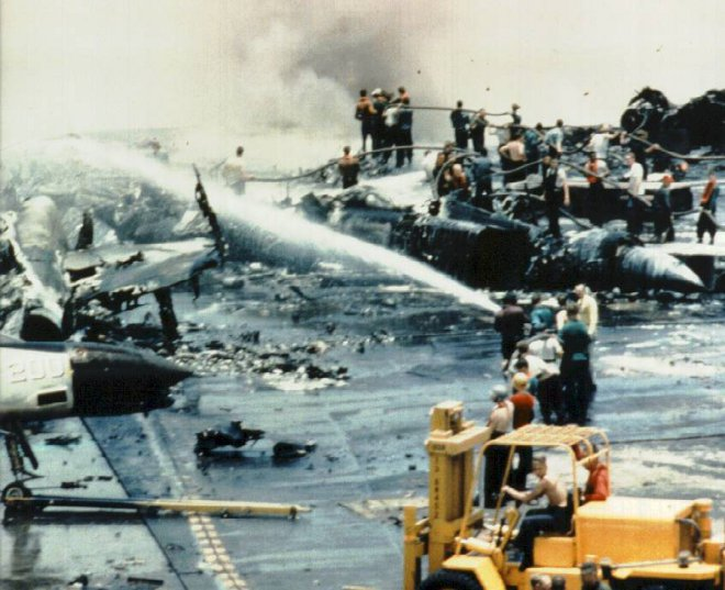 An EMC problem caused this fire aboard the aircraft carrier USS Forestal in 1967.